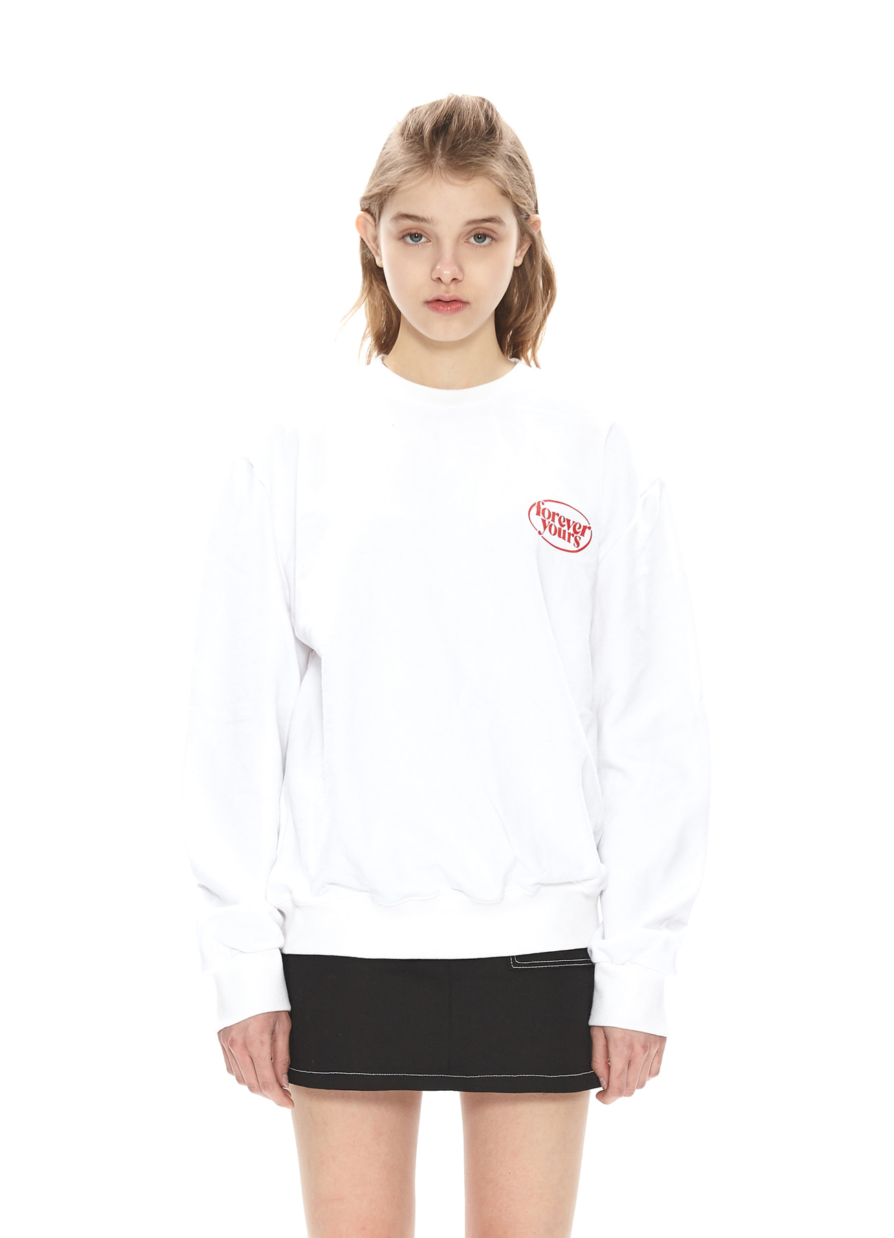 FOREVER YOURS SMALL LOGO SWEATSHIRTS_WH