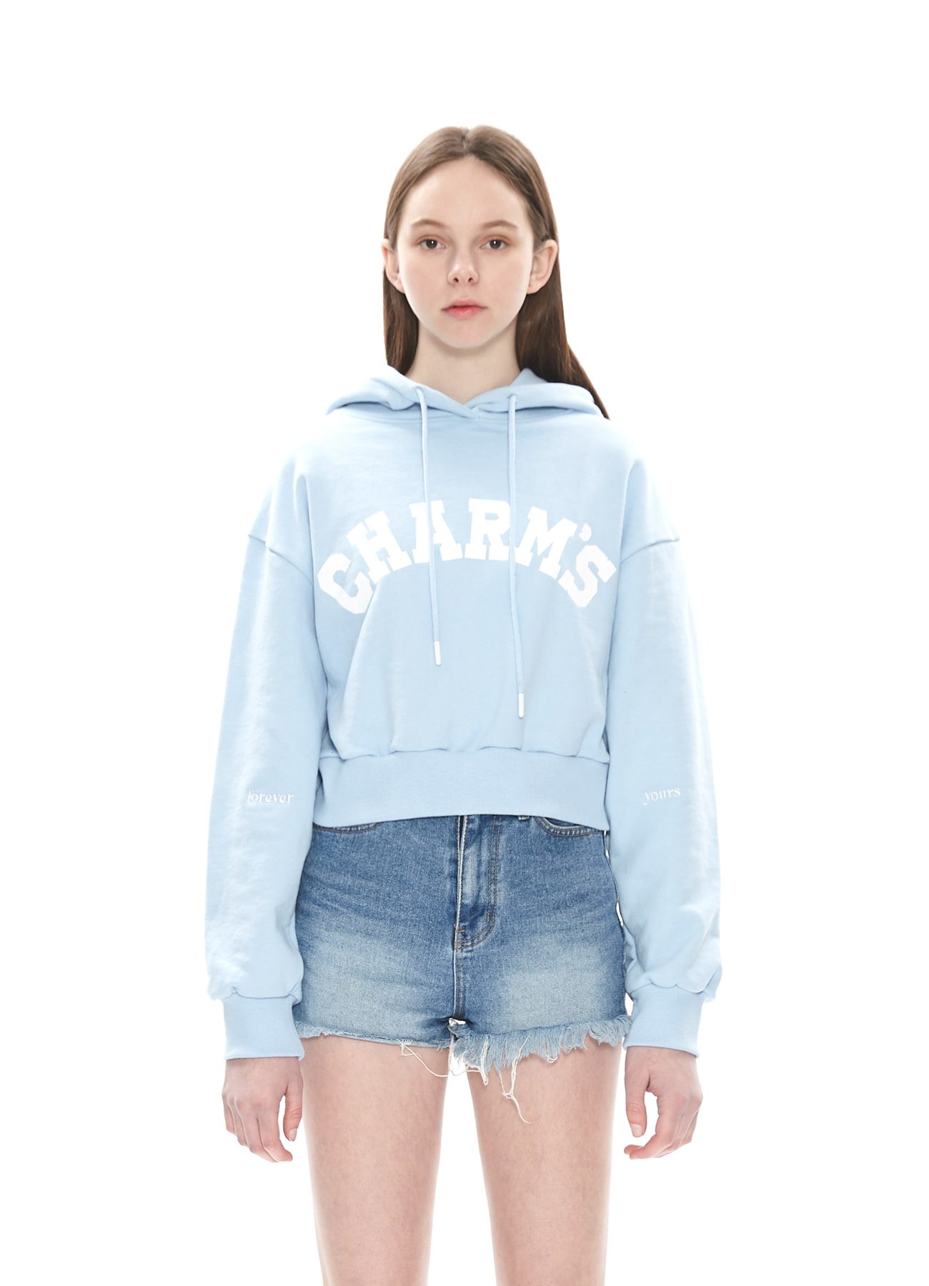 CHARMS FADED LOGO CROP HOODY_BL