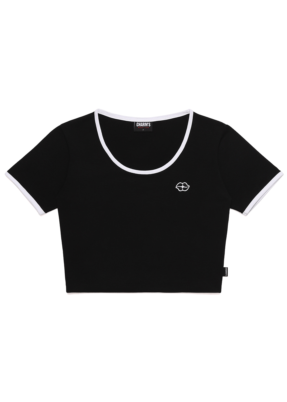 Heart Lip Logo U Neck Crop T BK