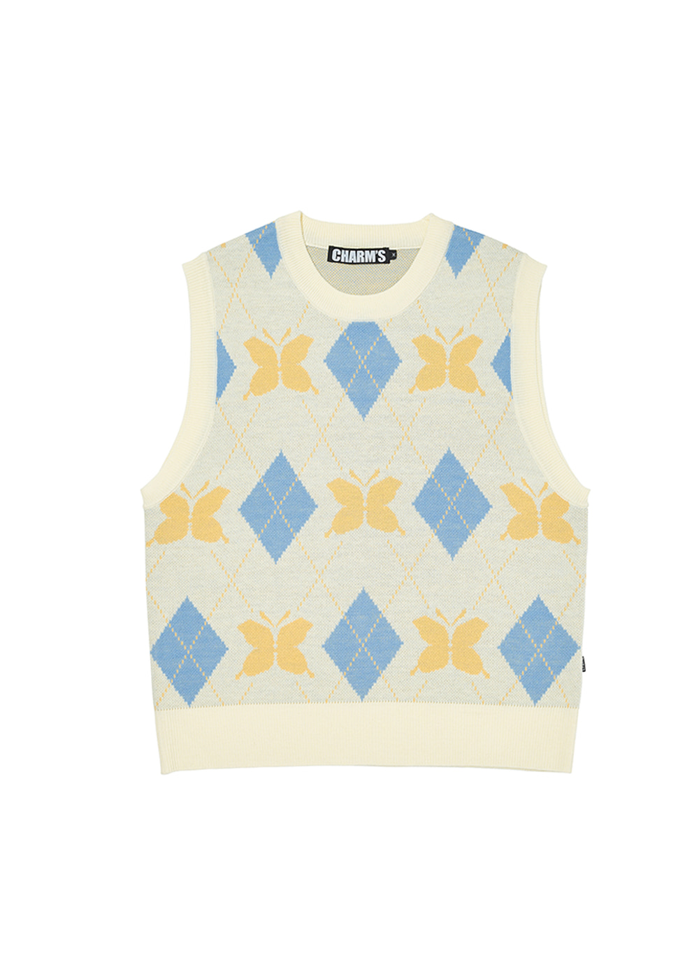 CHARMS BUTTERFLY ARGYLE KNIT VEST BE